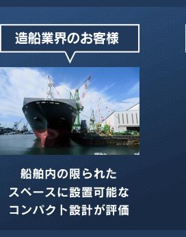 造船業界のお客様 船舶内の限られたスペースに設置可能なコンパクト設計が評価